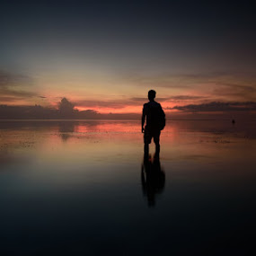 alone by En Ric - Landscapes Sunsets & Sunrises ( bluehour, bali, waterscape, indonesia, sunset, beach )