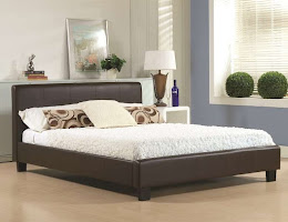 Faux Leather Low Foot end bedstead shown in Brown