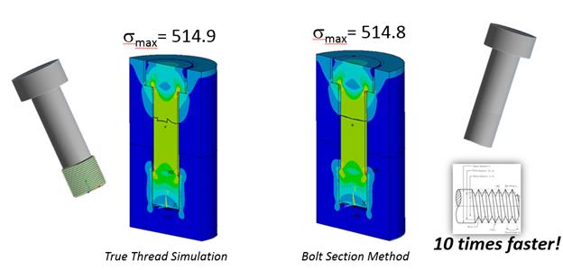ANSYS | Сравнение напряжений в моделях с детализированной (слева) и фиктивной (справа) резьбами