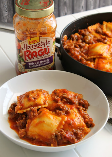 Make dinner a snap with a one pot pasta dish! Easy, cheesy ravioli with sausage is ready in 15 minutes