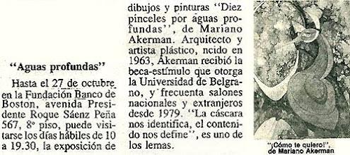 "Photo: Sylvia Liebermann, ""Aguas Profundas"" (Deep Waters), EL CRONISTA COMERCIAL, Buenos Aires, 27 September 1989, sect. 2, p. 1 http://akermariano.blogspot.com/2012/12/mariano-akerman.html"