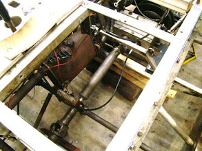 Photo: Photo showing the (black) Speedometer Cable assembly fabricated and installed by Allan Westland for Transmission movement indicator.