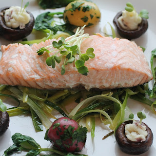Poached Salmon on Sauteed Leeks and Scallions with 2 Styles of Potatoes