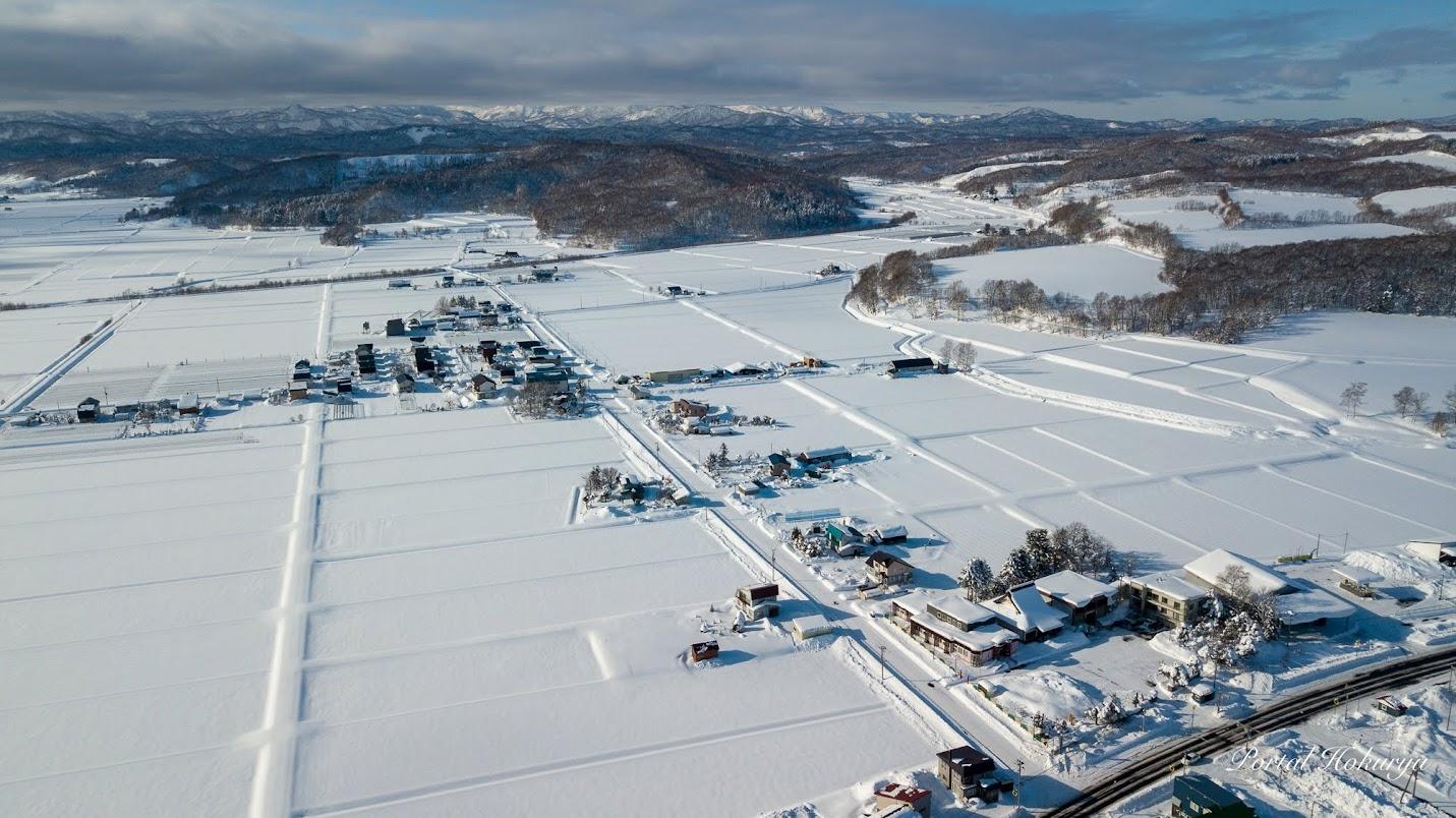 北竜町冬景色ドローン撮影:西川地区を望んで