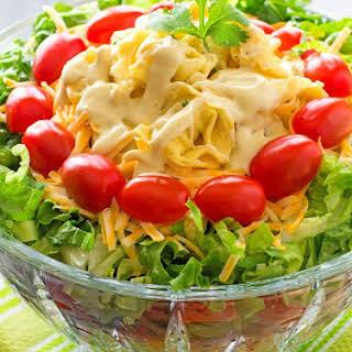 Layered Southwestern Cheese Tortellini Salad.