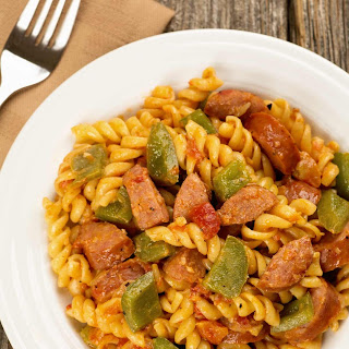 Creamy Pasta with Smoked Sausage and Peppers.