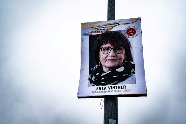 An electoral poster is displayed on a pole ahead of the April 6 parliamentary election, in Nuuk, Greenland. Picture: RITZAU SCANPIX/REUTERS