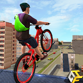 Rooftop BMX Bicycle Stunts