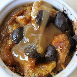 Pumpkin Bread Pudding with Chocolate Chips.