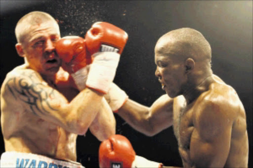 DAMAGE: Sipho Taliwe demolished Warren Joubert at Wembley Arena on Friday night. Pic. Bafana Mahlangu. 23/04/2010. © Sowetan.