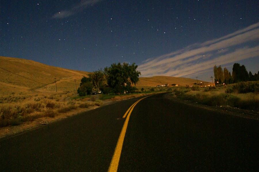 Red Mountain Road by Kevin Sullivan - Landscapes Deserts ( washington, benton city, desert, night, road )