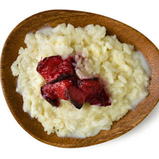 Creamy Rice Pudding with Broiled Plums