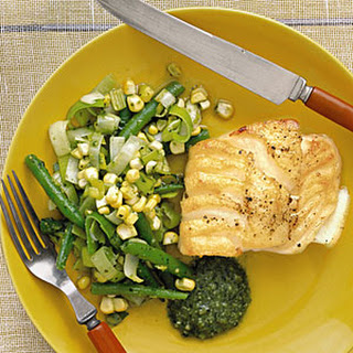 Cod with Beans, Corn, and Pesto
