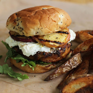 Turkey Burgers With Goat Cheese And Grilled Peaches.