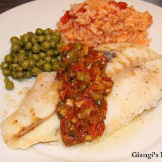 Orange Roughy with Tomatoes Capers Sauce.