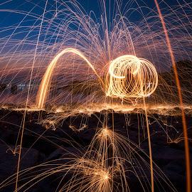 Steel Wool by Ah Wei (Lung Wei) - Abstract Light Painting ( samyang, fisheye, seashore, sunrises, george town, penang island, malaysia, beach, frontground, seascape, landscape, people, samyang 12mm f2.8, samyang 12mm f/2.8 ed as ncs fisheye, george town penang, persiaran karpal singh, karpal singh drive, pulau pinang, steel wool, nature, penang, sunrise, light )