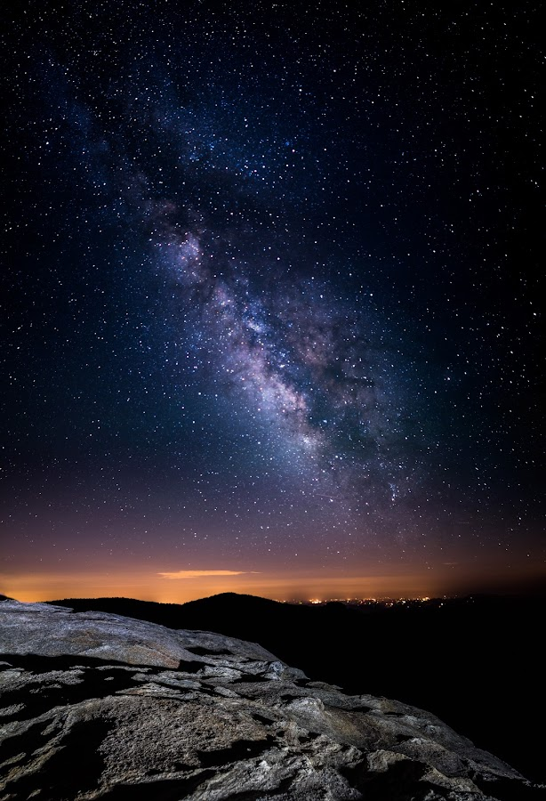Sam's Knob Milky Way by Tom Moors - Landscapes Starscapes ( pisgah national forest, mountain, stars, sam's knob, night, astrophotography, panorama, north carolina, milky way )