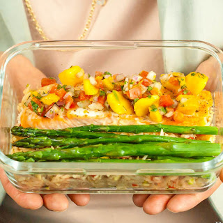 Salmon with Mango Salsa, Roasted Asparagus, and Jazzed-Up Rice
