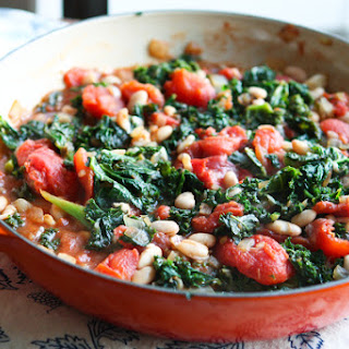 Kale with Stewed Tomatoes and White Beans