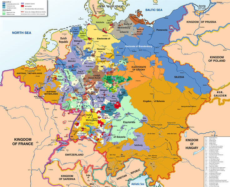 Map of the Holy Roman Empire before being dismantled by Napoleon.
