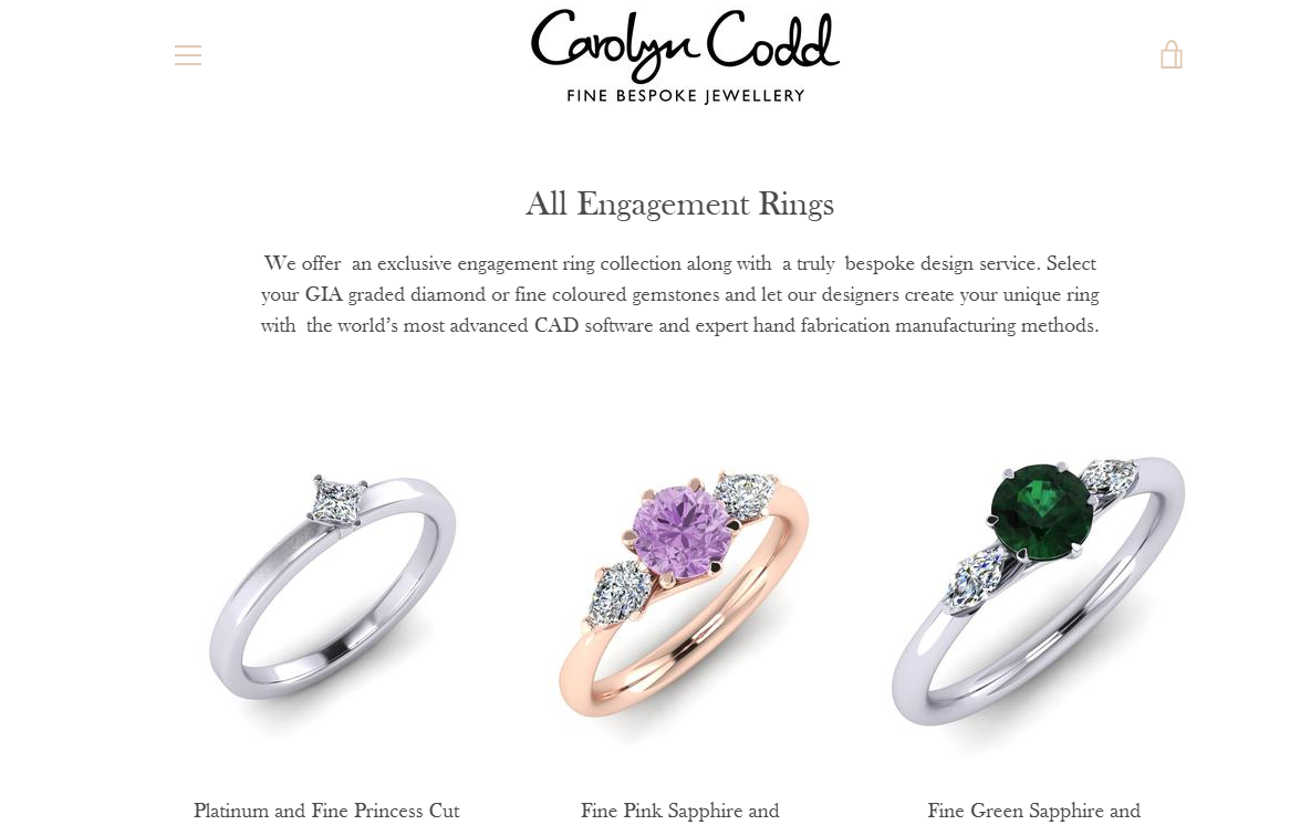 A product page on Carolyn Codd's website for 'All Engagement Rings'.