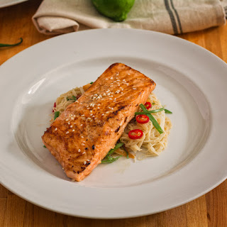 Salmon With Rice Noodles.