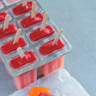 Orange Strawberry Sunrise Popsicles.