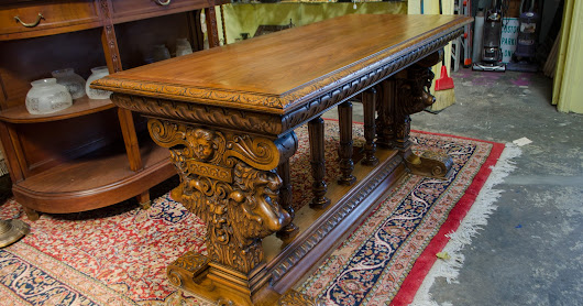 58RM75 - Italian Walnut Renaissance Revival Center Table