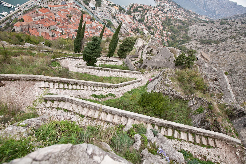 A steep winding trail above Old Kotor leads you up 1,350 steps to the ruins of the Castle of San Giovanni, some 4,000 feet above the bay.