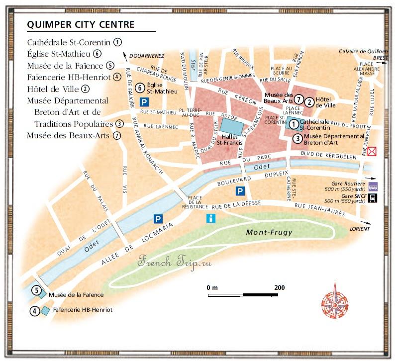 Карта города Quimper - Quimper (Кепмпер), Бретань, Франция - достопримечательности, маршрут по городу с картой, путеводитель по городу. Что посмотреть в Кемпере и Бретани, Бретань, Бретань Франция, достопримечательности Бретани, города Бретани, путеводитель по Бретани, Бретань путеводитель, Франция, города Франции, путеводитель по Франции, что посмотреть во Франции, Франция путеводитель, франция путеводитель скачать бесплатно, туристический маршруты с картой скачать бесплатно