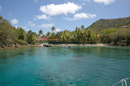 A spectacular turquoise lagoon in the French archipelago of  Îles des Saintes, Guadeloupe.