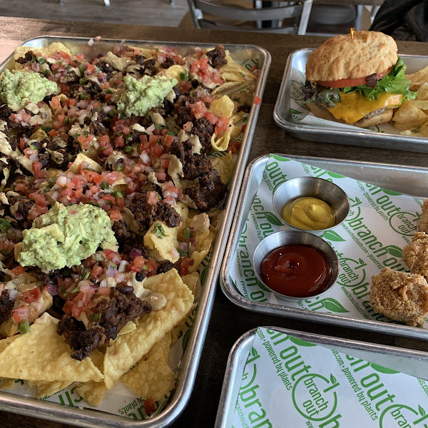 Nacho appetizer (huge), corn dog bites (not our favorite), and impossible burger.