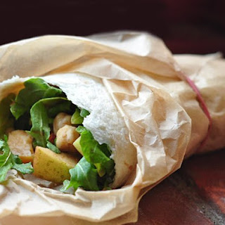 Arugula, Apple & Chickpea Salad Wraps.