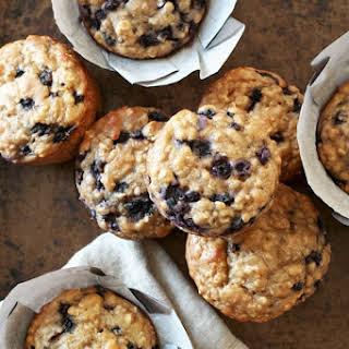 Blueberry Oat Greek Yogurt Muffins.