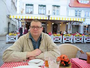 Photo: Matt after beer snacks in Livu Square