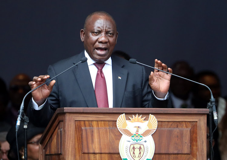 President Cyril Ramaphosa delivers the eulogy at the funeral of Winnie Madikizela-Mandela at the Orlando stadium in Soweto on Saturday.
