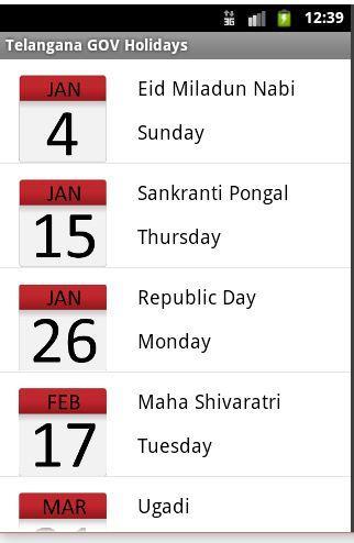 Andhra Pradesh GOV Holidays