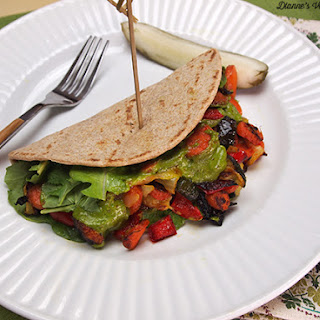 Grilled Veggie Pitas with Cilantro Lime Sauce from Pure and Beautiful Vegan Cooking.