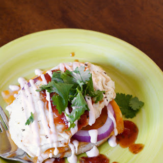 Open-Faced Mexican Fried Egg Sandwich with Sriracha Cream Sauce.