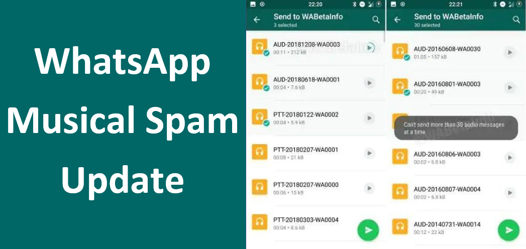 This Update of WhatsApp Allows More Spamming Through Audio Files