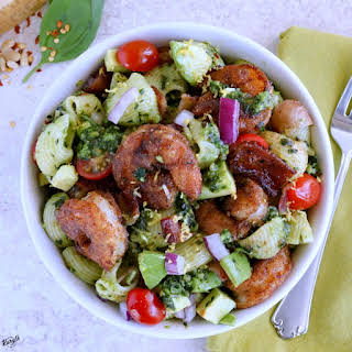 Blackened Shrimp Pesto Pasta Salad.