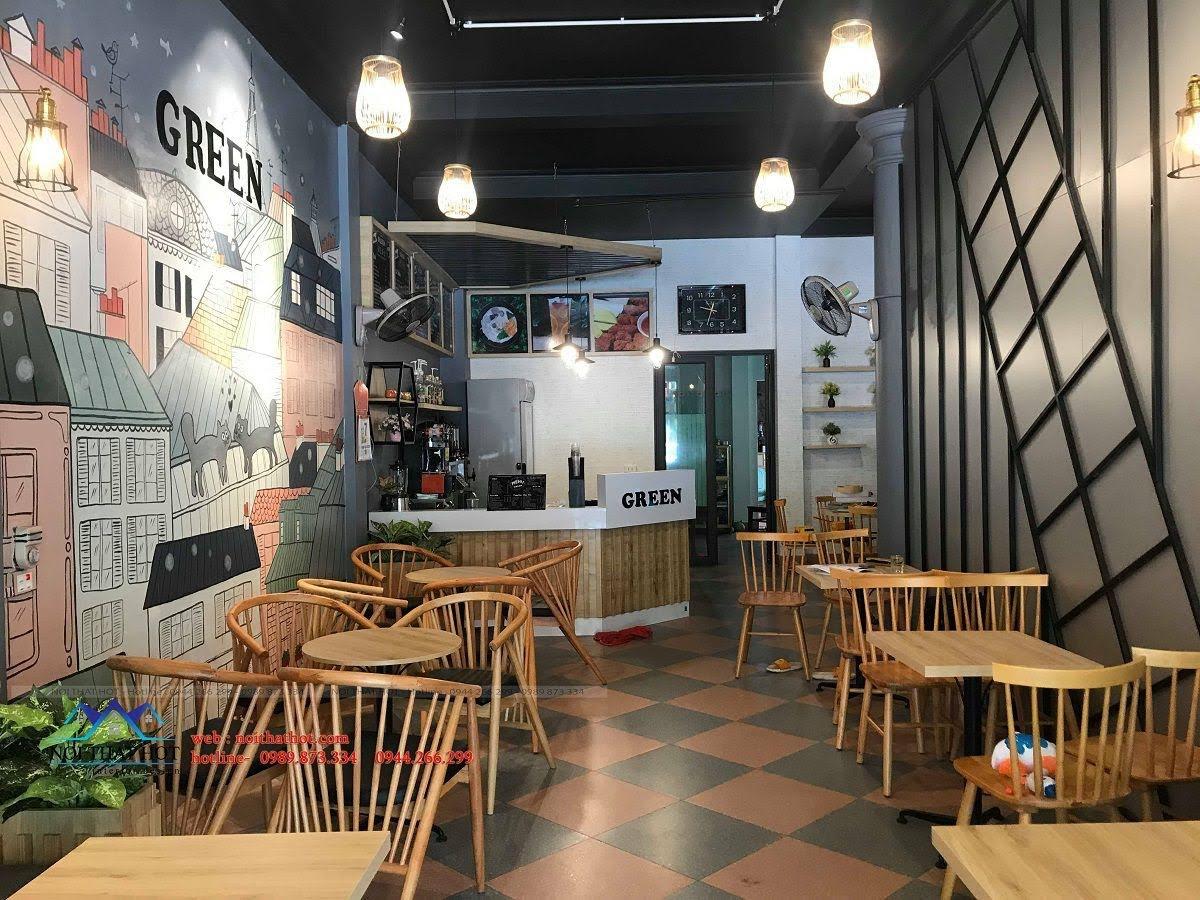 thiết kế quán trà sữa green 12