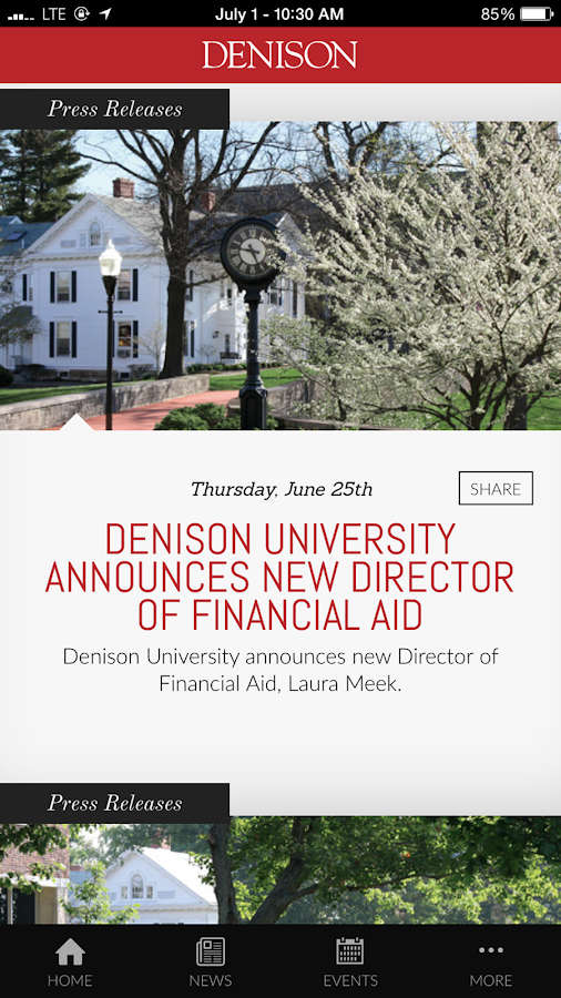 Denison University- screenshot