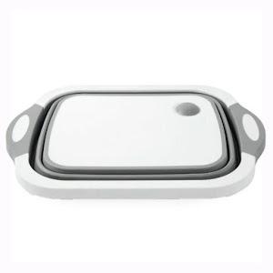 Tocator multifunctional, pliabil, cu dop, 40 x 30 x 3 cm, culoare alb/gri