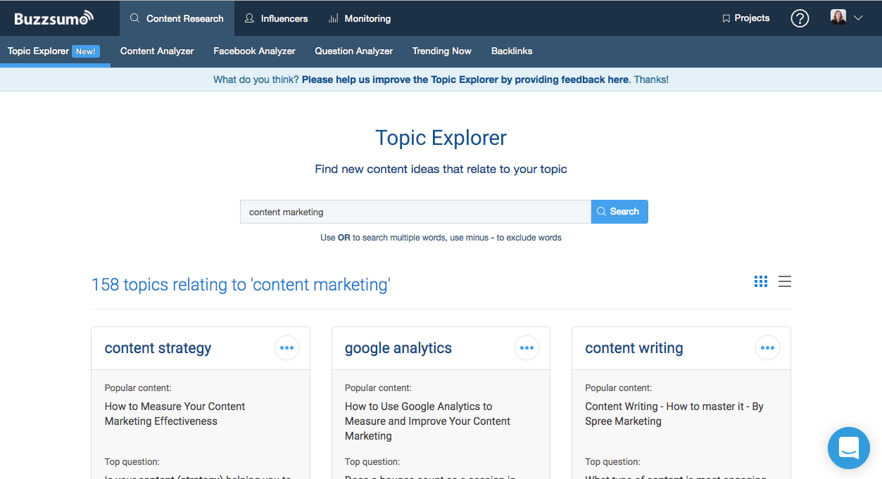 BuzzSumo Topic Explorer web page