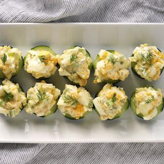 Egg Salad Cucumber Canape.