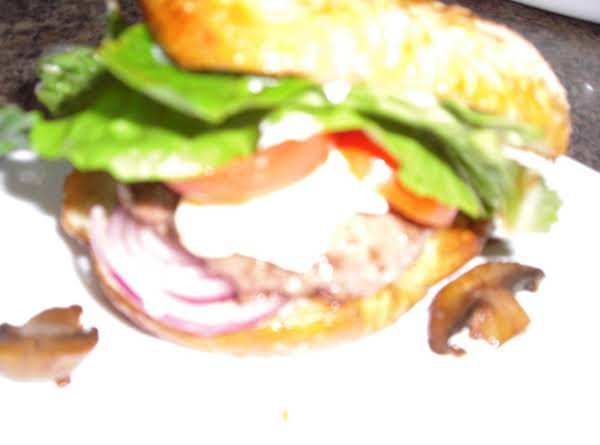 Burger With Swiss Cheese, Mushrooms Onions