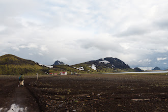 Photo: The huts at Álftavatn, about 7.5 mi and -1600 ft from Hrafntinnusker