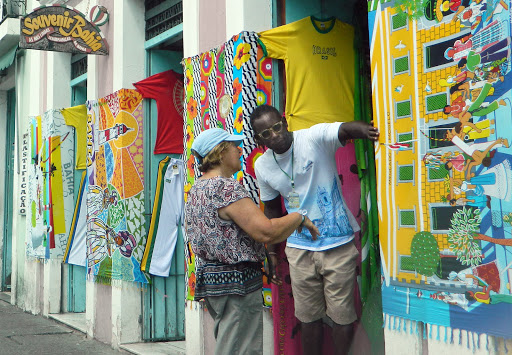 shopkeeper.jpg - Souvenir and craft shops line the historic district of Salvador.
