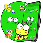 Cartoon Lovely Cute Green Frog Launcher Theme \ud83d\udc38